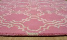 Load image into Gallery viewer, Moroccan Scroll Tile Pink Handmade Persian Style Wool Area Rug - TulipFiesta - 3
