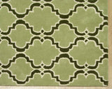 Moroccan Scroll Tile Green/Dk Green Persian Style Wool Area Rug - TulipFiesta - 1