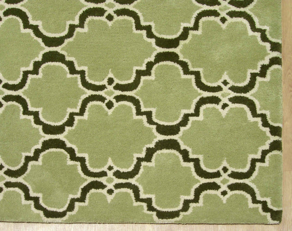 Moroccan Scroll Tile Green/Dk Green Persian Style Wool Area Rug