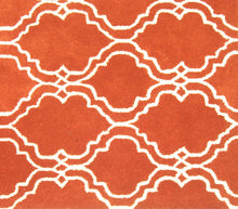 Load image into Gallery viewer, Moroccan Scroll Tile Orange Handmade Persian Style Wool Area Rug - TulipFiesta - 1