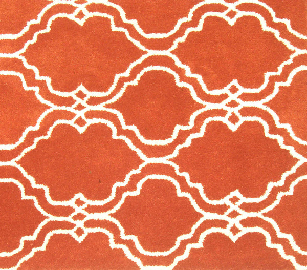 Moroccan Scroll Tile Orange Handmade Persian Style Wool Area Rug