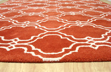 Load image into Gallery viewer, Moroccan Scroll Tile Orange Handmade Persian Style Wool Area Rug - TulipFiesta - 3