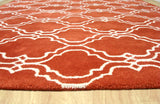 Moroccan Scroll Tile Orange Handmade Persian Style Wool Area Rug - TulipFiesta - 3