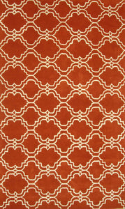 Moroccan Scroll Tile Orange Handmade Persian Style Wool Area Rug - TulipFiesta - 2
