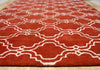 Moroccan Scroll Tile Rust Handmade Persian Style Wool Area Rug - TulipFiesta - 3