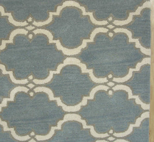 Moroccan Scroll Tile Gray/Porcelain Blue Persian Style Wool Area Rug - TulipFiesta - 1