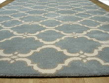 Load image into Gallery viewer, Moroccan Scroll Tile Gray/Porcelain Blue Persian Style Wool Area Rug - TulipFiesta - 3