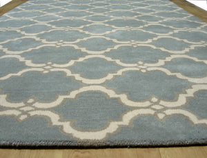 Moroccan Scroll Tile Gray/Porcelain Blue Persian Style Wool Area Rug - TulipFiesta - 3