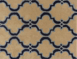 Moroccan Scroll Tile Taupe Handmade Persian Style Woolen Area Rug - TulipFiesta - 1
