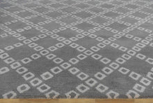 Load image into Gallery viewer, Lattice Squares Gray Contemporary Living Room Woolen Area Rug 8 x 10 - TulipFiesta - 3