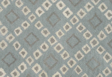 Load image into Gallery viewer, Lattice Squares Porcelain Blue Living Room Wool Area Rug - TulipFiesta - 2