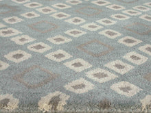 Load image into Gallery viewer, Lattice Squares Porcelain Blue Living Room Wool Area Rug - TulipFiesta - 1