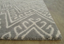 Load image into Gallery viewer, Chevron Hook Gray Handmade Persian Wool Area Rug - TulipFiesta - 2