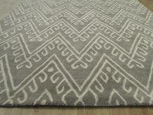 Load image into Gallery viewer, Chevron Hook Gray Handmade Persian Wool Area Rug - TulipFiesta - 5