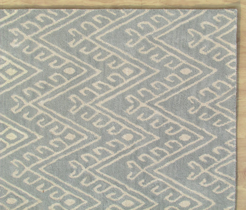 Chevron Hook Porcelain Blue Handmade Persian Wool Area Rug