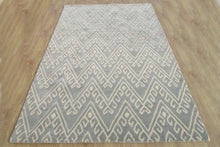Load image into Gallery viewer, Chevron Hook Porcelain Blue Handmade Persian Wool Area Rug - TulipFiesta - 3