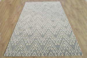Chevron Hook Porcelain Blue Handmade Persian Wool Area Rug - TulipFiesta - 3