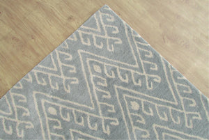 Chevron Hook Porcelain Blue Handmade Persian Wool Area Rug - TulipFiesta - 5