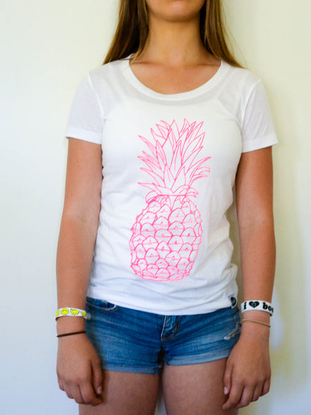Hot Pink Pineapple Tee - EAT Healthy Designs  - 1