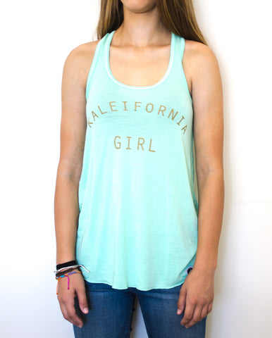 Kaleifornia Girl Tank - Mint - EAT Healthy Designs  - 1