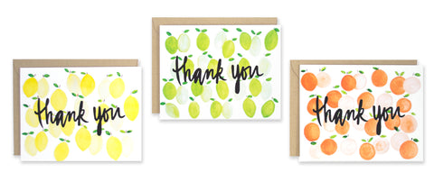 Citrus Thank You Note Set - EAT Healthy Designs  - 1