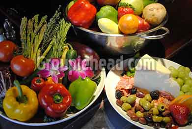 Stock Photography GH01-033 Vegetables, Fruit, Cheese & Olives