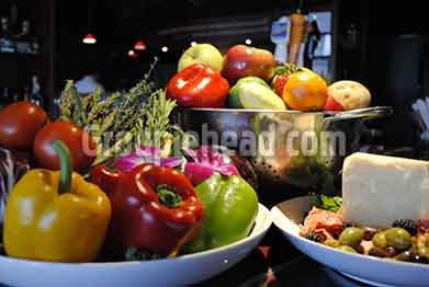 Stock Photography GH01-034 Vegetables, Fruit, Cheese & Olives