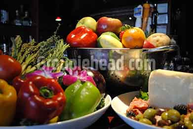 Stock Photography GH01-035 Vegetables, Fruit, Cheese & Olives