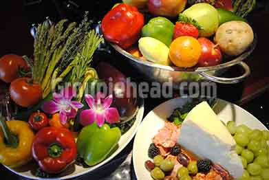 Stock Photography GH01-037 Vegetables, Fruit, Cheese & Olives