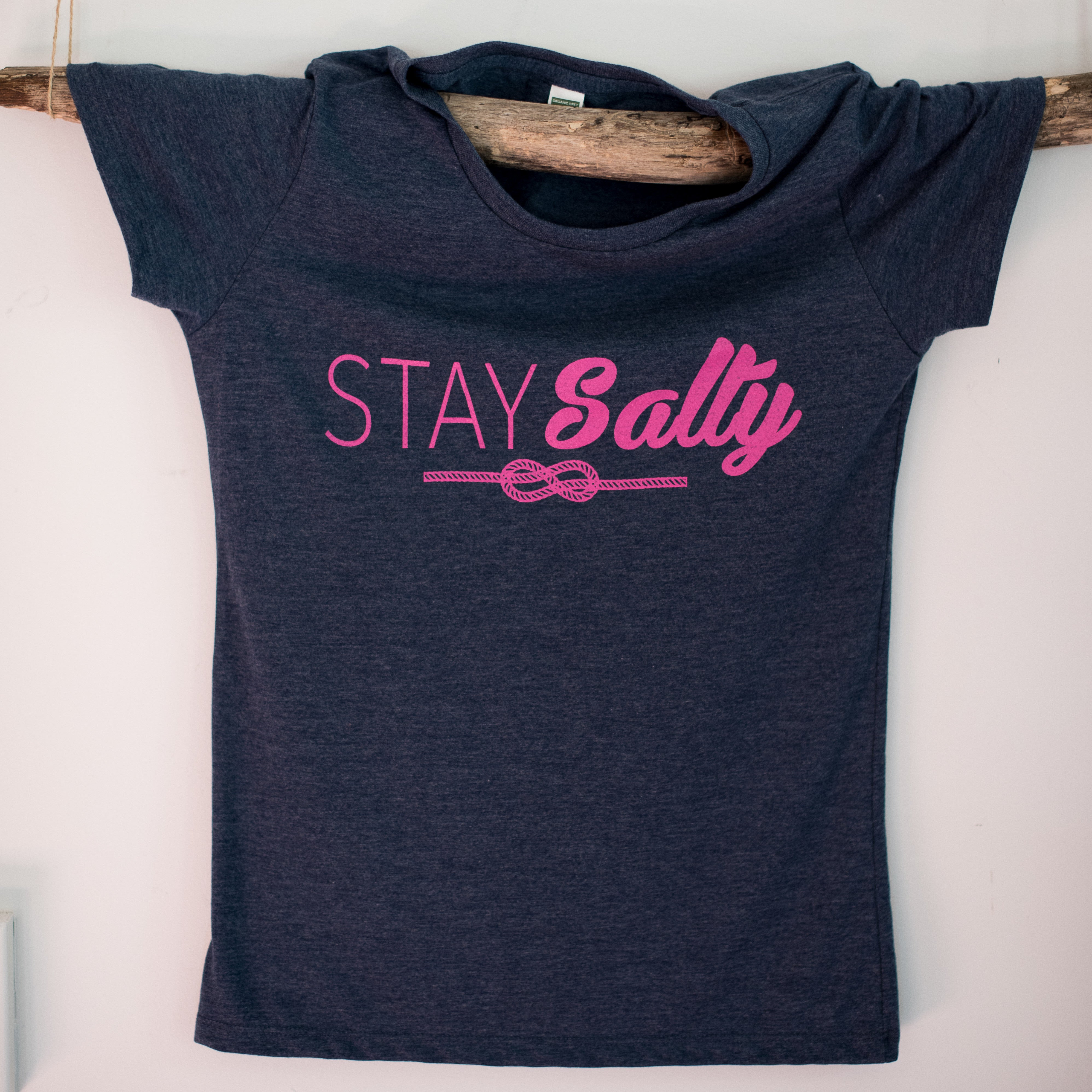 Stay Salty T-Shirt - Navy Blue with Hot Pink