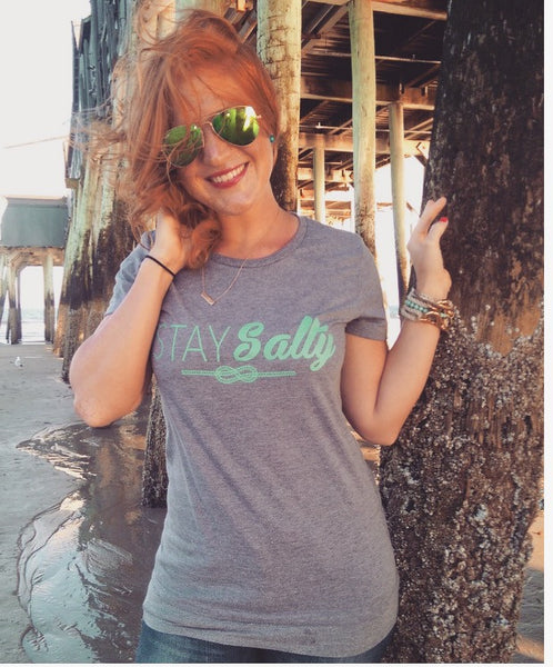 Stay Salty T-shirt - Light grey with Teal