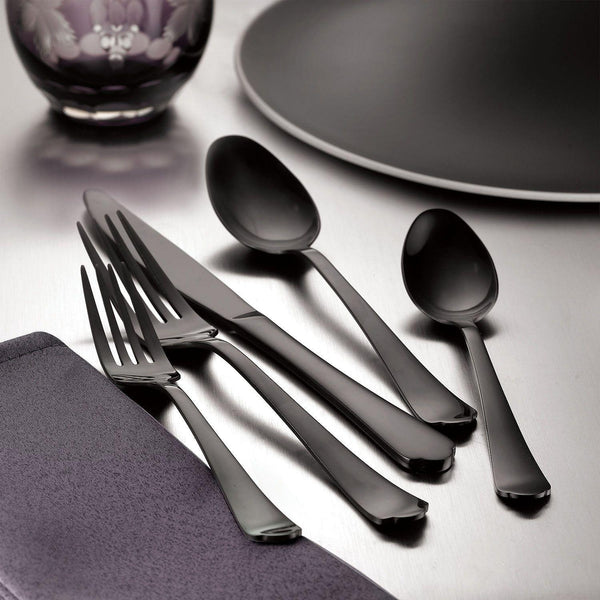 Signature Palace 20-Piece Gunmetal Black Flatware Set-GoGetGlam