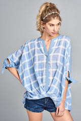 Blue Plaid Tie Sleeve Top-GoGetGlam