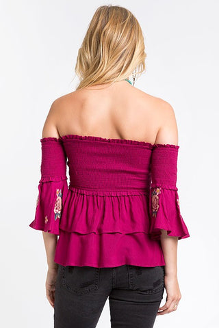 Maroon Ruched Off Shoulder Peplum Top