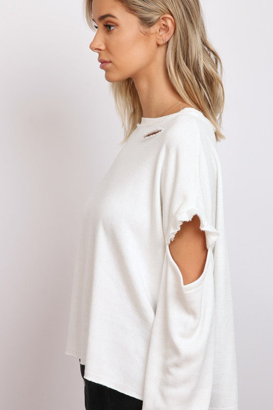 Distressed Cold Shoulder Knit Top. Previous