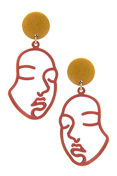 Red Gold Face Dangle Earrings - GoGetGlam Boho Style