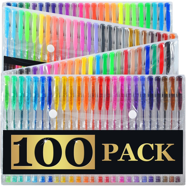 100 Ultimate Gel Pen Set For Adult Coloring Books & More - GoGetGlam Boho Style