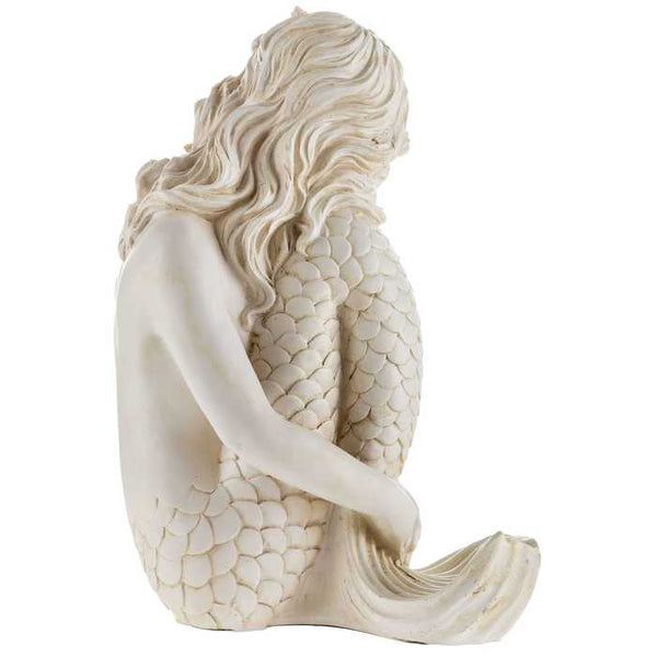 Antique Finish Ivory Sitting Mermaid Figurine