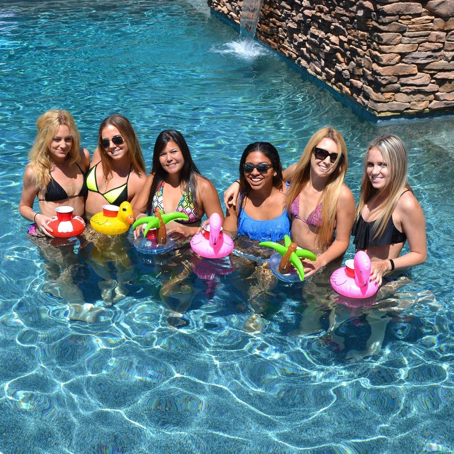 12 PC Flamingo Palm Tree Inflatable Party Pool Drink Floats-GoGetGlam