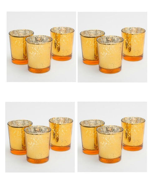 12 PC Gold or Amber Mercury Glass Votive Candle Holders-GoGetGlam