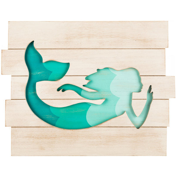 Mermaid Cut-Out Wood Wall Decor Sign - Boho Bohemian Decor