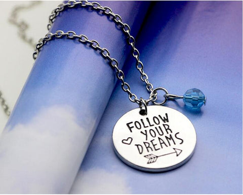 Follow Your Dreams Silver Charm Necklace-GoGetGlam