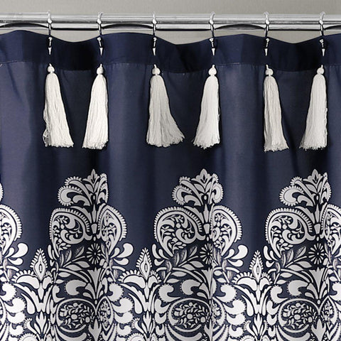 Mandala Medallion Navy Boho Tassel Shower Curtain-GoGetGlam