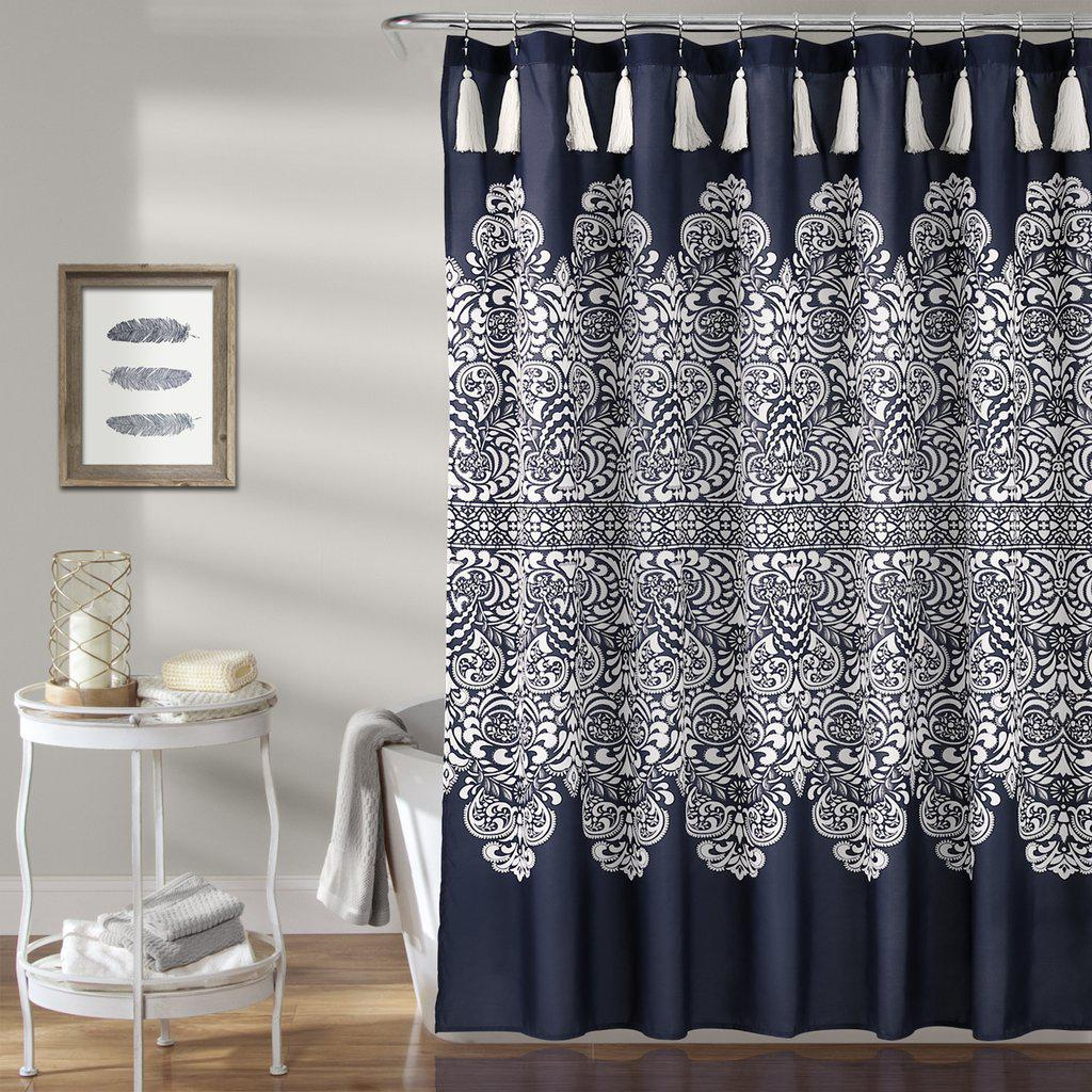 Mandala Medallion Navy Boho Tassel Shower Curtain Previous