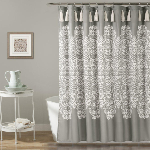 Mandala Medallion Grey Boho Tassel Shower Curtain-GoGetGlam