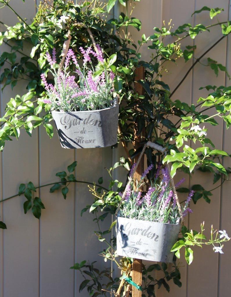 2 PC Faux Silk Lavender Plants in Carry Buckets - GoGetGlam Boho Style