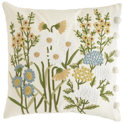 English Garden Embroidered Floral Pillow-GoGetGlam