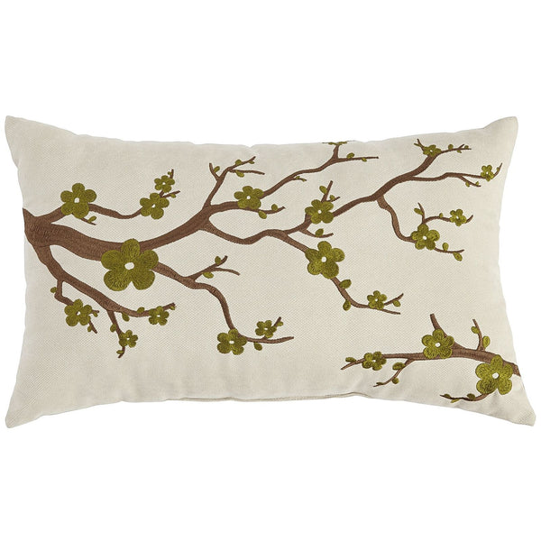Cherry Blossom Embroidered Moss Pillow-GoGetGlam