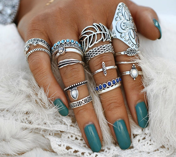 18 PC Ultimate Silver Boho Ring Set-GoGetGlam