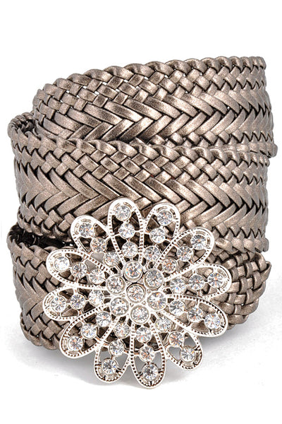 Metallic Woven Belt with Crystal Flower Buckle-GoGetGlam